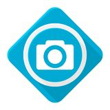 Blue icon camera with long shadow Stock Photo
