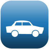 Blue icon car. Blue icon illustration of a white car Royalty Free Stock Photo