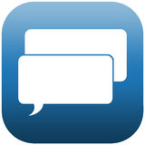Blue Icon chat bubbles. Blue icon illustration with two white chat bubbles Stock Images