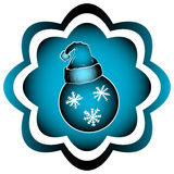 Blue icon with Christmas ball. Illustration with a blue gradient and a festive Christmas ball Stock Photos