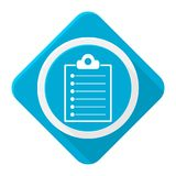 Blue icon clipboard list with long shadow Stock Photography