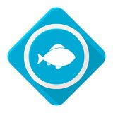 Blue icon fish with long shadow. Vector icon Royalty Free Stock Image