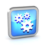 Blue icon with gears. On a white background