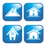 Blue icon houses royalty free stock image