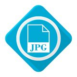 Blue icon jpg file with long shadow. Vector icon Stock Photography