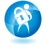 Blue Icon - Lock. A 3D blue icon button - person with lock Royalty Free Stock Photography