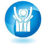 Blue Icon - Massaging. A 3D blue icon button - back treatment Royalty Free Stock Images