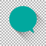 Blue icon message. Checkered background. With flat shadow Stock Photography