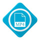 Blue icon mp4 file with long shadow. Vector icon Royalty Free Stock Photos