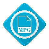 Blue icon mpg file with long shadow. Vector icon vector illustration