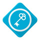 Blue icon old key with long shadow. Vector icon Stock Photography