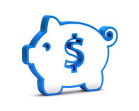 Blue icon with piggy bank Royalty Free Stock Photos