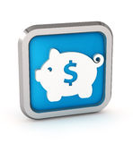 Blue icon with piggy bank Stock Image