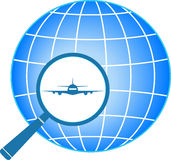 Blue icon with plane in magnifier. On planet background Stock Image