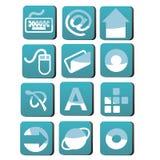 Blue icon set Stock Photos