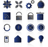 Blue icon set. Blue icons set with reflection Stock Images