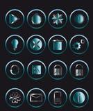 Blue icon set. For web Royalty Free Stock Photos