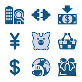 Blue icon set 24 Stock Photography