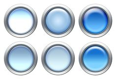 Blue icon set. With metal border isolated on white vector illustration