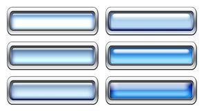 Blue icon set. With metal border isolated on white royalty free illustration