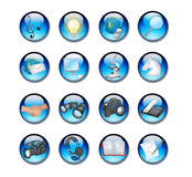 Blue icon set. Illustration of of blue aqua icons 16 in set Royalty Free Illustration