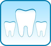 Blue icon with set tooth. Dental clinic symbol Royalty Free Stock Image
