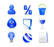 Blue icon set - user, percent, bucket, bird, chat Stock Photography