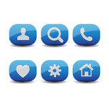 Blue icon set vector Royalty Free Stock Images
