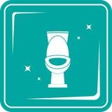 Blue icon with shiny white toilet stock illustration