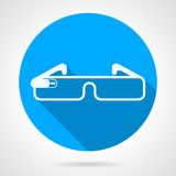 Blue icon for smart glasses. Single blue circle icon with white silhouette smart glasses with long shadow Royalty Free Stock Photo