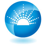 Blue Icon - Sun. A 3D blue icon button - sunset / sunrise Royalty Free Stock Image