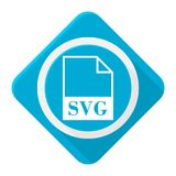 Blue icon svg file with long shadow Stock Images