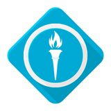Blue icon torch with long shadow. Vector icon Royalty Free Stock Photos
