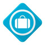 Blue icon valise with long shadow Royalty Free Stock Image