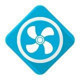 Blue icon ventilator with long shadow Stock Photography