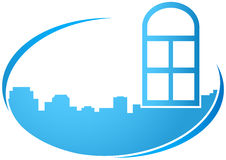Blue icon with window Royalty Free Stock Images
