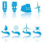 Blue icons. Different forms of blue icons, illustration Stock Image