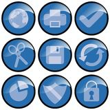 Blue Icons. Blue modern icons for universal use stock illustration