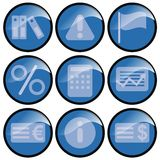 Blue Icons. Calculation and currency symbols royalty free illustration
