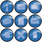 Blue Icons. Representing mobile, broadcast,information,contact stock illustration