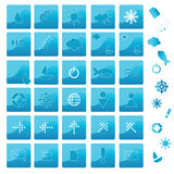 Blue icons. Collection for your design Royalty Free Stock Photo