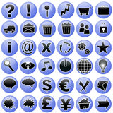 Blue Icons Set Stock Photo