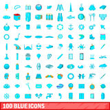 100 blue icons set, cartoon style Stock Photography