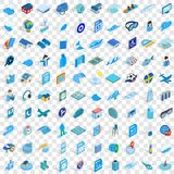 100 blue icons set, isometric 3d style. 100 blue icons set in isometric 3d style for any design vector illustration Stock Images
