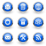 Blue icons set Stock Images