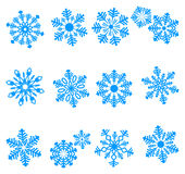 Blue icons of snowflake Royalty Free Stock Image