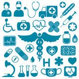 Blue icons on white with healthcare symbols. Blue medical icons on white with healthcare symbols: tubes, medicines, syringes, ambulance, doctors, microscope, ECG Stock Image
