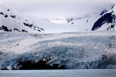 Blue Icy Portage Glacier and Mountain Alaska Royalty Free Stock Photos