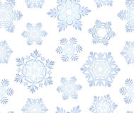 Blue icy snowflakes set seamless background Stock Images