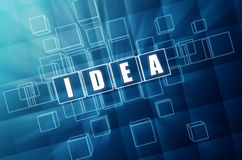 Blue idea in glass blocks. Idea text in 3d blue glass cubes with white letters Stock Photos